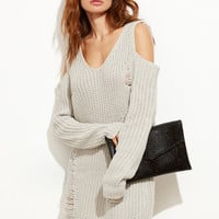 Grey Cold Shoulder Ripped Sweater Dress | MakeMeChic.COM