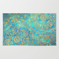 Sapphire & Jade Stained Glass Mandalas Rug by Micklyn