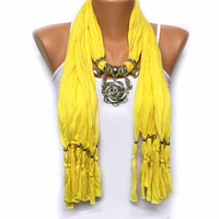 CHRISTMAS SALE Yello jewelry scarf with flower pendant Christmas gift or for you high fashion scarf