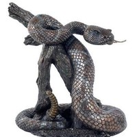 Rattlesnake on Branch Bronze Finish Statue