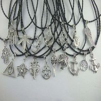 """Fashion Black PU Leather Braided Pentagram Death Hollow Charms Pendants Necklace Wiccan Pagan Gothic 18"""""""