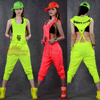 Hip Hop Dance Costume performance wear European loose leopard harem jazz jumpsuit  one piece Pants