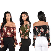 Floral Printed Sexy Floral Printed Nightclub Clubbing Party Erotic Top _ 11502