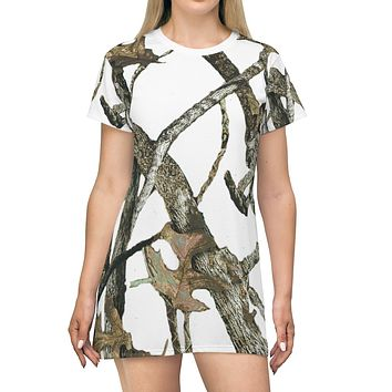 White Camo T Shirt Dress