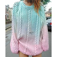 Plus Size Knit Tops Twisted Pullover Sweater [1447966507105]
