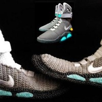Marty McFly Shoes Nike Air Mags, Back to the Future, Knitted Slippers, Handmade, Croch
