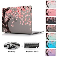 Cherry tree blossom Pattern Clear case For Macbook Retina 12 Air 11 Air 13 Pro 13 15 Retina 13.3 15.4 inch + Keyboard cover