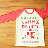 NEW Merry Christmas Ya Filthy Animal TShirt Merry Christmas Shirt Red Sleeve Tee Shirt Women TShirt Unisex TShirt Raglan Baseball Tee S,M,L