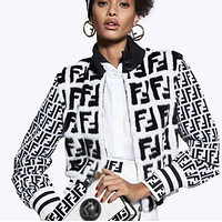 FENDI Women Personality Mohair F Jacquard Half High Collar Zipper Cardigan Jacket Coat White