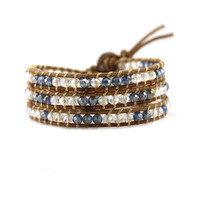 Denim Blue and Clear Crystals on Natural Leather Wrap Bracelet