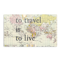 "Catherine Holcombe ""To Travel Is To Live"" Color Map Aluminum Magnet"