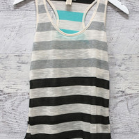 Vancouver Mint And Gray Striped Racerback Tank Top
