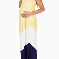 Yellow White Navy Blue Colorblock Maternity Maxi Dress