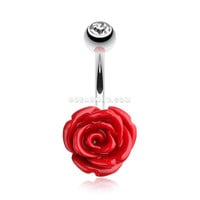 Dainty Blossom Rose Belly Button Ring (Red)