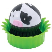 Boston Warehouse Suds Buds Brush Scrubber and Holder, Cow in Grass Design