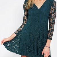 Urban Outfitters - Pins And Needles Long-Sleeve Lace Skater Dress