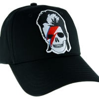 David Bowie Skull Lightining Bolt Hat Baseball Cap Gothic Ziggy Stardust
