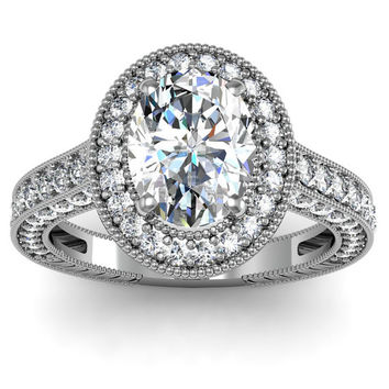 2.18ct Oval Diamond Engagement Ring 18kt White Gold JEWELFORME BLUE Halo Engagement Ring
