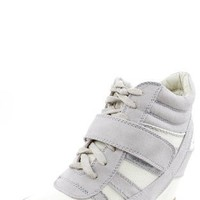 Wild Diva Bubble-02 Lace Up Wedge Sneakers LIGHT GRAY