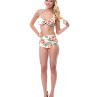 50's Style Peach Hibiscus Two Piece Swimsuit - Unique Vintage - Cocktail, Pinup, Holiday & Prom Dresses.
