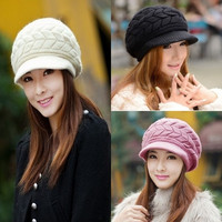 Women's Autumn Winter Knit Wool Slouchy Beret Fashion Double Layer Thermal Cap 7 Color = 1958106116