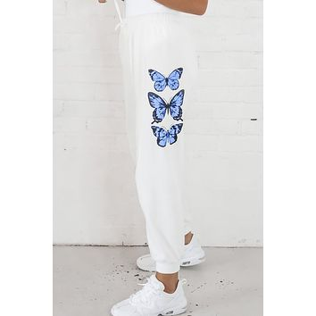 Free Spirit White Butterfly Joggers