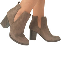 Amble Suede Booties In Taupe