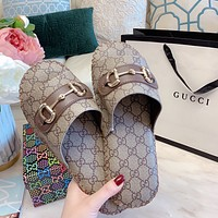 GUCCI Retro and simple men's and women's home slippers shoes