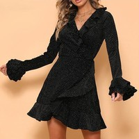 Sequins Polka Dot Short Dress Winter Ruffles Long Sleeve Wrap Dress Women Sexy Black Flouce Party Dresses Vestidos
