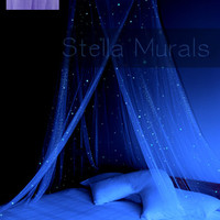 Glow in the Dark Stella Murals Star Canopy - LILAC - Surround your bed with stars!