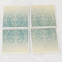 Tile Coaster Set in Light Blue Demasque Pattern with Padded Foam Backing (4)