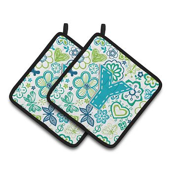 Letter Y Flowers and Butterflies Teal Blue Pair of Pot Holders CJ2006-YPTHD
