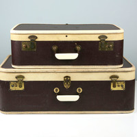 Vintage Luggage Set, Vintage Suitcase, Brown with Cream Leather Trim, Stacking Suitcases, Antique Suitcase, 1940s Suitcase, Suitcase Set