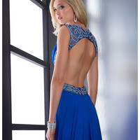 Jasz Couture 2014 Prom Dresses - Royal Chiffon & Beaded Cut Out Prom Gown