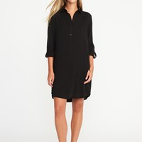 Twill Button-Front Shirt Dress for Women | Old Navy