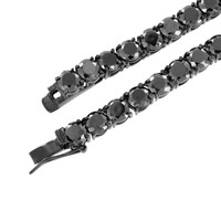 Black Solitaire Link Necklace Lab Diamonds Stainless Steel Tennis Chain 6 MM New
