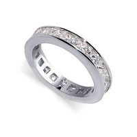 Sterling Silver Princess Cut Clear Cubic Zirconia Polished Finish 5mm Eternity Wedding Band Ring Size 5, 6, 7, 8, 9, 10