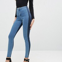 ASOS RIVINGTON High Waisted Denim Jegging in Two Tone Blues at asos.com