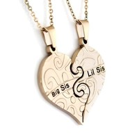 Gold Necklace Big Sis & Lil Sis Sister , Heart Gold Pendant Necklaces Set (2pcs)