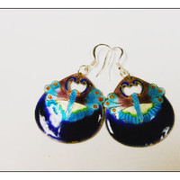 Handmade, handpainted butterfly dangle earrings / OOAK