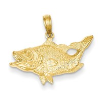14k Open Mouthed Bass Fish Pendant K3044