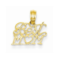 14k Gold Best Mom with Heart Pendant