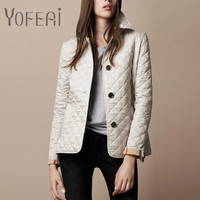 YOFEAI Women Jackets Spring Autumn Cotton Smil Coat Padded Casual Coat Jacket Fashion Outerwear Plaid Quilting Padded Parkas
