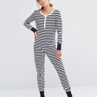 Chelsea Peers Striped Jersey Onesuit at asos.com