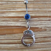 Belly Button Ring - Body Jewelry -Silver Handcuff With Dark Blue Gem Stone Belly Button Ring