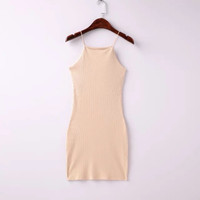 Fashion Style Women Bodycon American App Slim Sleeveless Casual Straps Dresses 5 Color SM6