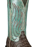Ariat® Nitro™ Women's Tobacco Caiman Belly w/ Metallic Teal Top Double Welt Square Toe Exotic Western Boots