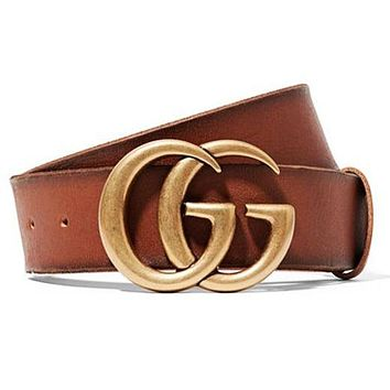 GG men's and women's smooth buckle belt