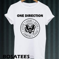 One Direction Shirt  1 Direction Ramones Logo Men or Women T Shirt Black and White Unisex Tees BS-7