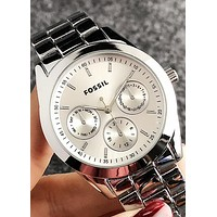 FOSSIL Tide brand personality fashion simple men and women models quartz watch silver